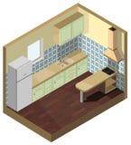 τρισδιάστατη isometric διανυσματική πράσινη πρόσοψη κουζινών απεικόνισης εσωτερική απεικόνιση αποθεμάτων