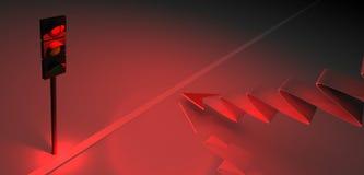 τρισδιάστατοι κόκκινοι φωτεινός σηματοδότης και βέλος απεικόνιση αποθεμάτων