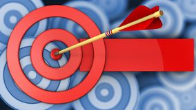 τρισδιάστατοι κύκλοι στόχων με το χτύπημα βελών διανυσματική απεικόνιση