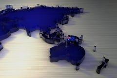 τρισδιάστατοι παγκόσμιος χάρτης και ήπειρος Αυστραλία απόδοσης με τη σημαία της Αυστραλίας διανυσματική απεικόνιση