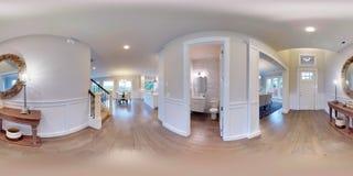 τρισδιάστατοι σφαιρικοί 360 βαθμοί απεικόνισης, άνευ ραφής πανόραμα του εσωτερικού σχεδίου Στοκ Εικόνες