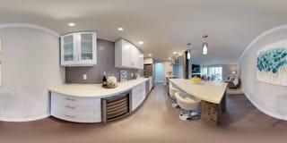 τρισδιάστατοι σφαιρικοί 360 βαθμοί απεικόνισης, ένα άνευ ραφής πανόραμα της κουζίνας στοκ εικόνες
