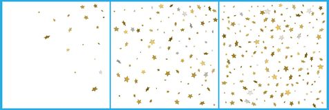 τρισδιάστατοι χρυσοί και ασημένιοι εορτασμοί κομφετί αστεριών Απλό εορταστικό σύγχρονο σχέδιο Διάνυσμα διακοπών Σύνολο 3 σε 1 διανυσματική απεικόνιση