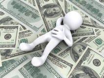 τρισδιάστατος άνθρωπος που βρίσκεται στα χρήματα Στοκ Φωτογραφία