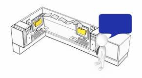 τρισδιάστατος άσπρος τύπος με τη λεκτική φυσαλίδα που στέκεται δίπλα σε δύο υπολογιστές μέσα σε έναν θαλαμίσκο γραφείων όπου η με ελεύθερη απεικόνιση δικαιώματος