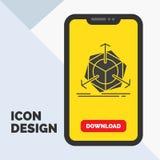 τρισδιάστατος, αλλαγή, διόρθωση, τροποποίηση, εικονίδιο Glyph αντικειμένου σε κινητό για Download τη σελίδα Κίτρινο υπόβαθρο ελεύθερη απεικόνιση δικαιώματος