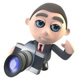 τρισδιάστατος αστείος χαρακτήρας επιχειρηματιών κινούμενων σχεδίων εκτελεστικός που παίρνει μια φωτογραφία με μια κάμερα διανυσματική απεικόνιση
