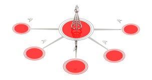 τρισδιάστατος ασύρματος πύργος και τα σήματά του απεικόνιση αποθεμάτων