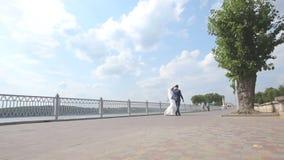 τρισδιάστατος αφηρημένος πρότυπος γάμος χορού newlyweds χορεύει στην προκυμαία χορός νυφών και νεόνυμφων κοντά στη γραφική μπλε λ απόθεμα βίντεο