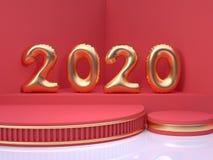 τρισδιάστατος δίνοντας χρυσός αριθμός μπαλονιών/τύπος κόκκινη γωνία πατωμάτων τοίχων σκηνής αφηρημένες ελάχιστες διακοπές Χριστου ελεύθερη απεικόνιση δικαιώματος