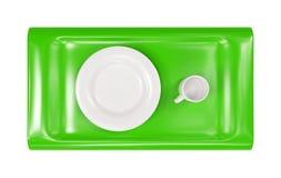 τρισδιάστατος δίσκος πιάτων ΚΑΠ κενός πράσινος πρότυπος Στοκ Εικόνες