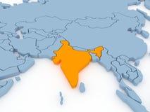 τρισδιάστατος διαστατικός απομονωμένος η Ινδία χάρτης τρία Στοκ φωτογραφία με δικαίωμα ελεύθερης χρήσης