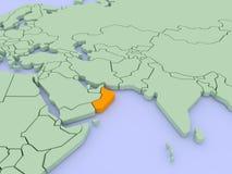 τρισδιάστατος διαστατικός απομονωμένος χάρτης Ομάν τρία απεικόνιση αποθεμάτων