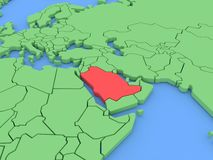 τρισδιάστατος διαστατικός απομονωμένος χάρτης Σαουδάραβας τρία της Αραβίας Στοκ Φωτογραφία