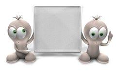 τρισδιάστατος δώστε δύο χαρακτήρων που κρατούν έναν πίνακα διαφημίσεων στοκ φωτογραφία με δικαίωμα ελεύθερης χρήσης