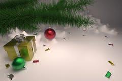 τρισδιάστατος δώστε μιας κάρτας Χριστουγέννων με ένα χριστουγεννιάτικο δέντρο και ένα δώρο διανυσματική απεικόνιση