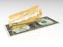 τρισδιάστατος δώστε μιας χρυσής λεπίδας κόβοντας ένα δολάριο απεικόνιση αποθεμάτων