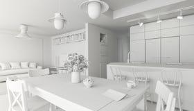 τρισδιάστατος δώστε την εικόνα του όμορφου άσπρου εσωτερικού δωματίου, Σκανδιναβικό ύφος διανυσματική απεικόνιση
