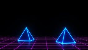τρισδιάστατος δώστε της πυραμίδας νέου στο υπόβαθρο πλέγματος Σχέδιο εμβλημάτων Retrowave, synthwave, vaporwave απεικόνιση Κόμμα  διανυσματική απεικόνιση