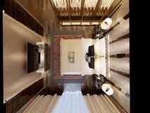 τρισδιάστατος δώστε της σύγχρονης κρεβατοκάμαρας Στοκ Φωτογραφία