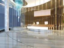 τρισδιάστατος δώστε της σύγχρονης υποδοχής ξενοδοχείων Στοκ Εικόνες
