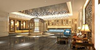 τρισδιάστατος δώστε του λόμπι ξενοδοχείων ελεύθερη απεικόνιση δικαιώματος