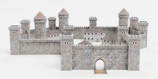 τρισδιάστατος δώστε του μεσαιωνικού Castle ελεύθερη απεικόνιση δικαιώματος