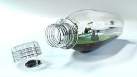 τρισδιάστατος δώστε του μπουκαλιού με τη μικρογραφία του σπιτιού ελεύθερη απεικόνιση δικαιώματος