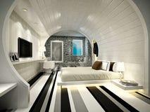 τρισδιάστατος δώστε του σύγχρονου δωματίου ξενοδοχείου Στοκ φωτογραφία με δικαίωμα ελεύθερης χρήσης