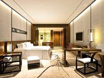 τρισδιάστατος δώστε του σύγχρονου δωματίου ξενοδοχείου Στοκ Εικόνα