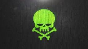 τρισδιάστατος δώστε το πράσινο κρανίο το ψηφιακό υπόβαθρο των πολλών μαύρων τετραγώνων ελεύθερη απεικόνιση δικαιώματος