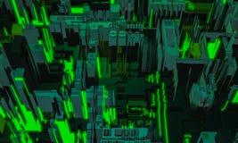 τρισδιάστατος δώστε το ψηφιακό αφηρημένο πράσινο τεμάχιο αρχιτεκτονικής οικοδόμησης Πόλη Cyber Τυπωμένη επανάληψη τεχνολογίας PCB στοκ εικόνα με δικαίωμα ελεύθερης χρήσης