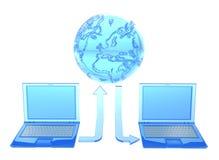 τρισδιάστατος δώστε των διαφανών lap-top και του πλανήτη διανυσματική απεικόνιση