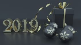 τρισδιάστατος δώστε των Χριστουγέννων και του νέου υποβάθρου έτους ελεύθερη απεικόνιση δικαιώματος