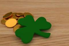 τρισδιάστατος δώστε των χρυσών νομισμάτων στον πίνακα ξύλινο, κοντά σε ένα τριφύλλι Εορτασμός Αγίου Patrick& x27 ημέρα του s ελεύθερη απεικόνιση δικαιώματος