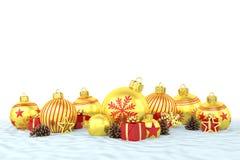 τρισδιάστατος δώστε - χρυσά μπιχλιμπίδια Χριστουγέννων πέρα από το άσπρο υπόβαθρο Στοκ Εικόνες
