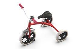 τρισδιάστατος επεξηγήστε του τρίκυκλου ρόδινου ποδηλάτου των παιδιών που απομονώνεται στο άσπρο υπόβαθρο στοκ φωτογραφία