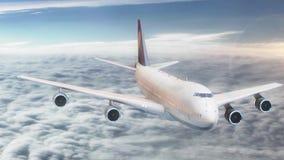τρισδιάστατος επιβάτης αεροπλάνου ζωτικότητας που πετά στον ουρανό επάνω από τα σύννεφα διανυσματική απεικόνιση