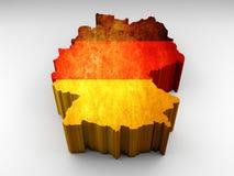 τρισδιάστατος κατασκευασμένος γερμανικός χάρτης με μια γερμανική σημαία διανυσματική απεικόνιση