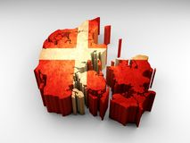 τρισδιάστατος κατασκευασμένος χάρτης της Δανίας με μια δανική σημαία διανυσματική απεικόνιση