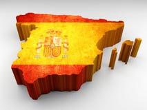 Τρισδιάστατος κατασκευασμένος χάρτης της Ισπανίας με μια ισπανική σημαία διανυσματική απεικόνιση