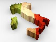 τρισδιάστατος κατασκευασμένος χάρτης της Ιταλίας με μια ιταλική σημαία διανυσματική απεικόνιση