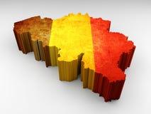 τρισδιάστατος κατασκευασμένος χάρτης του Βελγίου με μια βελγική σημαία απεικόνιση αποθεμάτων