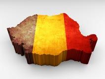 τρισδιάστατος κατασκευασμένος χάρτης του Βελγίου με μια βελγική σημαία διανυσματική απεικόνιση