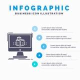 τρισδιάστατος, κύβος, διαστατικός, διαμόρφωση, πρότυπο Infographics σκίτσων για τον ιστοχώρο και παρουσίαση Γκρίζο εικονίδιο GLyp διανυσματική απεικόνιση