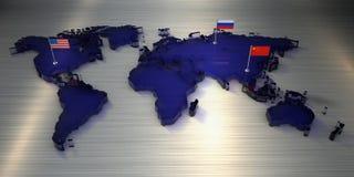 τρισδιάστατος παγκόσμιος χάρτης απόδοσης φιαγμένος από γυαλί με τις σημαίες της Αμερικής, της Κίνας και της Ρωσίας απεικόνιση αποθεμάτων