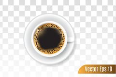 τρισδιάστατος ρεαλιστικός του μαύρου καφέ στο απομονωμένο υπόβαθρο διανυσματική απεικόνιση