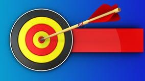 τρισδιάστατος στρογγυλός στόχος με το χτύπημα βελών διανυσματική απεικόνιση