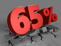 τρισδιάστατος της έκπτωσης 65 τοις εκατό Στοκ εικόνες με δικαίωμα ελεύθερης χρήσης