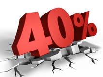 τρισδιάστατος της έκπτωσης 40 τοις εκατό Στοκ Εικόνες